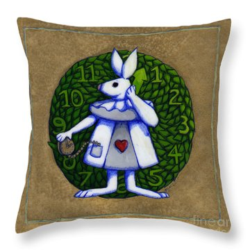 Throw Pillow featuring the mixed media White Rabbit Wonderland by Donna Huntriss