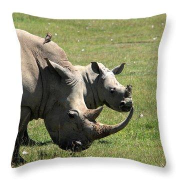 White Rhino Mother And Calf Throw Pillow by Aidan Moran
