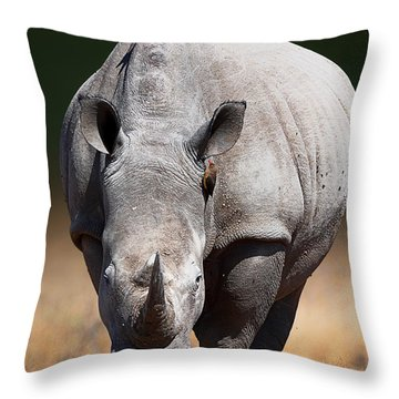 White Rhinoceros  Front View Throw Pillow