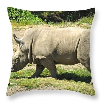 White Rhinoceros Grazing Throw Pillow