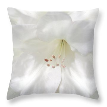 White Rhododendron Flowers Throw Pillow by Jennie Marie Schell