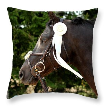 White Ribbon Throw Pillow