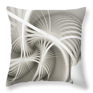 White Ribbons Spiral Throw Pillow
