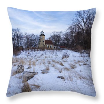 White River Lighthouse In Winter Throw Pillow