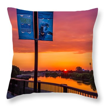 White River Sunset Throw Pillow