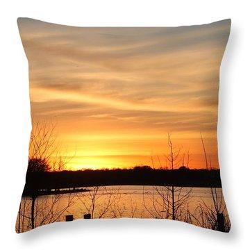 White Rock Lake Sunset Throw Pillow by Lorri Crossno