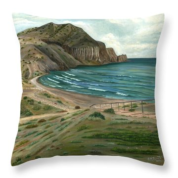 Throw Pillow featuring the painting White Rock's Beach by Angeles M Pomata