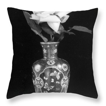 White Rose Antique Vase Throw Pillow
