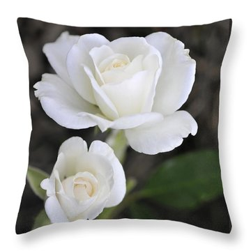 White Rose Duo Throw Pillow