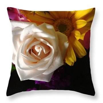 Throw Pillow featuring the photograph White Rose by Meghan at FireBonnet Art