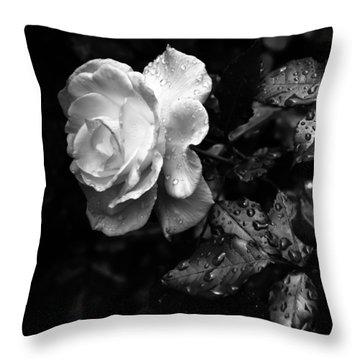 White Rose Full Bloom Throw Pillow
