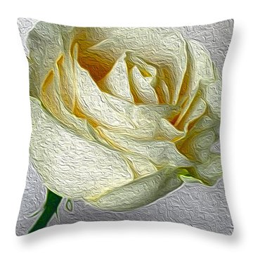Throw Pillow featuring the photograph White Rose In Oil Effect by Nina Silver