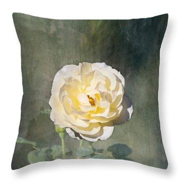 White Rose Throw Pillow by Kim Hojnacki