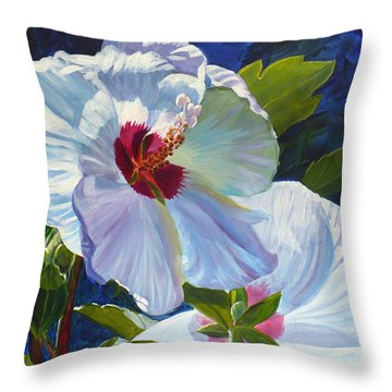 White Rose Of Sharon Throw Pillow