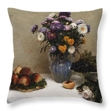White Roses And Chrysanthemums Throw Pillow by Ignace Henri Jean Fantin-Latour