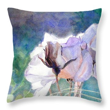 White Roses In The Shade Throw Pillow