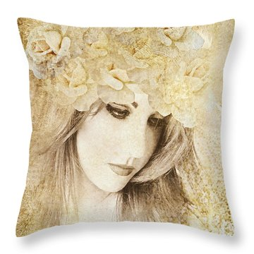 White Roses Throw Pillow by Riana Van Staden
