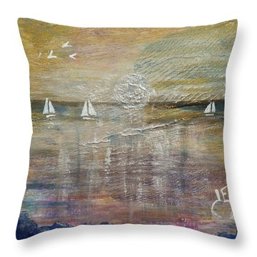 White Sails In The Moonlight Throw Pillow