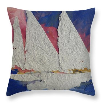 White Sails In The Sunset Throw Pillow