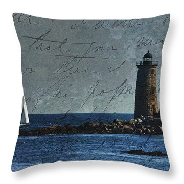 Throw Pillow featuring the photograph White Sails On Blue  by Jeff Folger