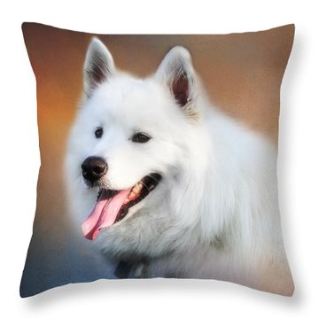 White Samoyed Portrait Throw Pillow