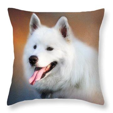 White Samoyed Portrait Throw Pillow