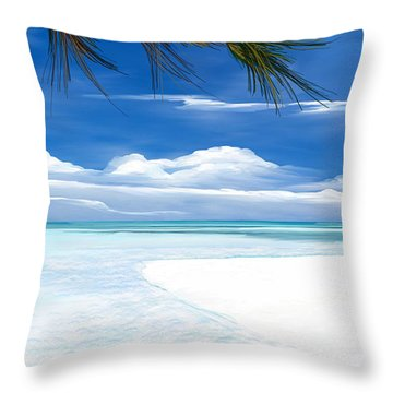 Throw Pillow featuring the digital art White Sand And Turquoise Sea by Anthony Fishburne