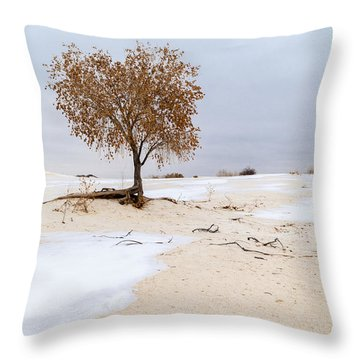 White Sands Lone Tree Throw Pillow by Brian Harig