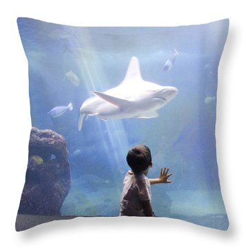 White Shark And Young Boy Throw Pillow