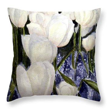 White Spring Tulips Throw Pillow