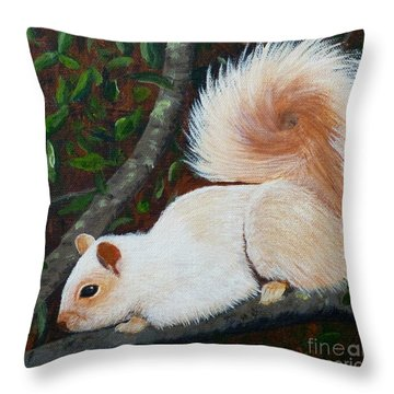 White Squirrel Of Sooke Throw Pillow