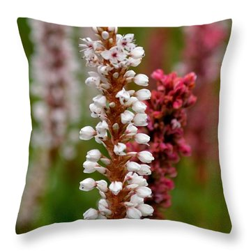 White Stalk Flower Throw Pillow