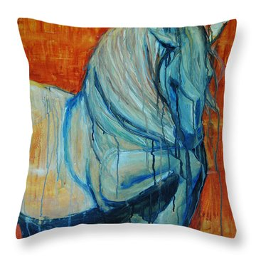 Throw Pillow featuring the painting White Stallion by Jani Freimann