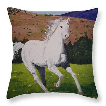Throw Pillow featuring the painting White Stallion by Norm Starks