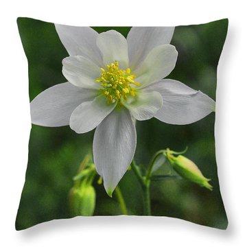 Throw Pillow featuring the digital art White Star Flower by Mae Wertz