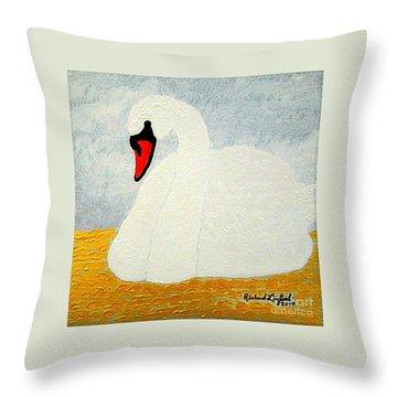 White Swan Lake Throw Pillow
