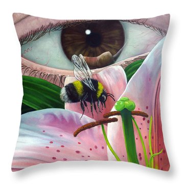 White Tailed Bumble Bee Upon Lily Flower Throw Pillow