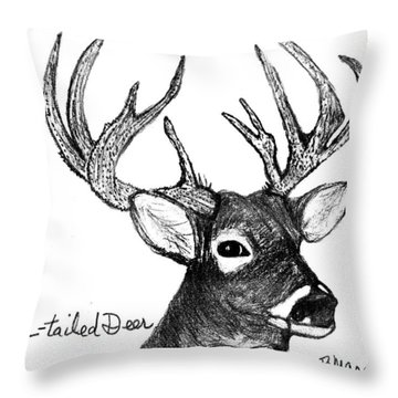 White-tailed Deer Head Throw Pillow