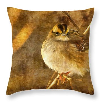 Throw Pillow featuring the photograph White Throated Sparrow by Lois Bryan