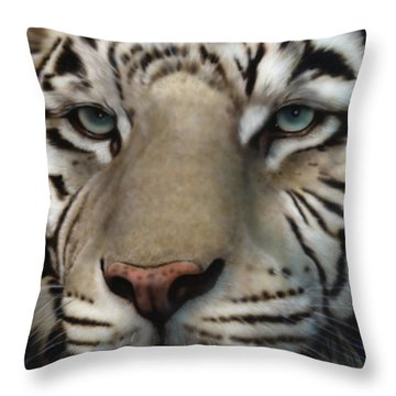White Tiger - Up Close And Personal Throw Pillow
