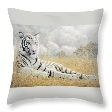 White Tiger Throw Pillow by Lucie Bilodeau
