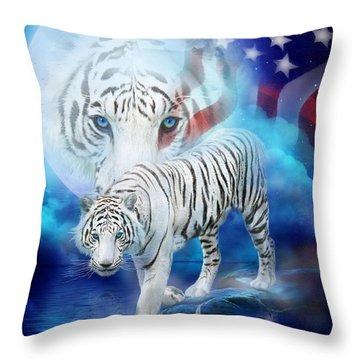 White Tiger Moon - Patriotic Throw Pillow by Carol Cavalaris