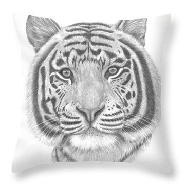 Throw Pillow featuring the drawing White Tiger by Patricia Hiltz