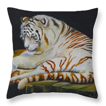 Throw Pillow featuring the painting White Tiger Sleeping by Phyllis Beiser