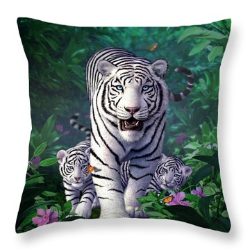 White Tigers Throw Pillow by Jerry LoFaro