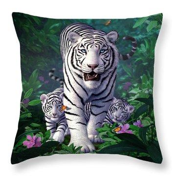 White Tigers Throw Pillow