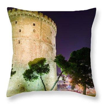 White Tower In Salonica Greece Throw Pillow by Sotiris Filippou