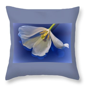 White Tulip On Blue Throw Pillow