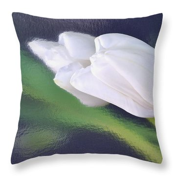 White Tulip Reflected In Dark Blue Water Throw Pillow