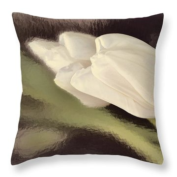 White Tulip Reflected In Misty Water Throw Pillow